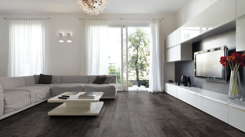 Laminat Kronotex Exquisit Nostalgie Teak Graphit Produktbild Wohnzimmer - Urban mit Wohnwand zoom