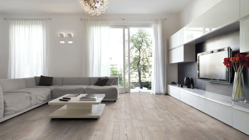 Laminat Kronotex Exquisit Nostalgie Teak Beige Produktbild Wohnzimmer - Urban mit Wohnwand zoom