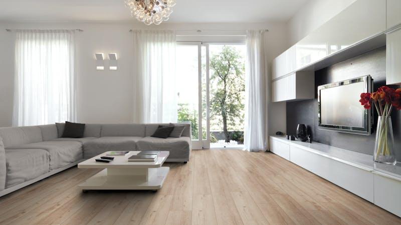Laminat Kronotex Robusto Rip Oak Nature Produktbild Wohnzimmer - Urban mit Wohnwand zoom