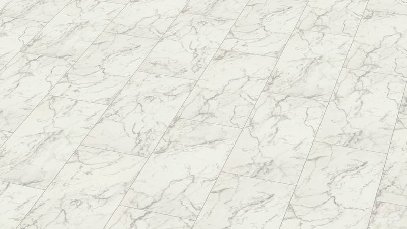 Laminat Falquon Glamour Carrara Marmor Produktbild Musterfläche von oben grade zoom