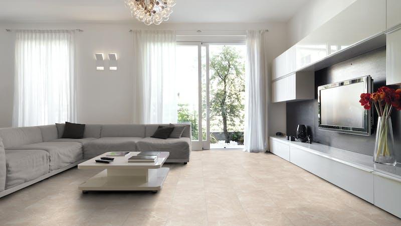Laminat Falquon Glamour Bottocino Light Produktbild Wohnzimmer - Urban mit Wohnwand zoom