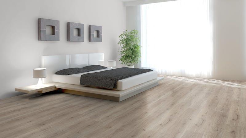 Laminat BoDomo Klassik Trend Oak Grau Produktbild Schlafzimmer - Urban zoom