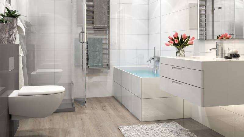 Laminat BoDomo Klassik Trend Oak Grau Produktbild Badezimmer - Klassisch zoom