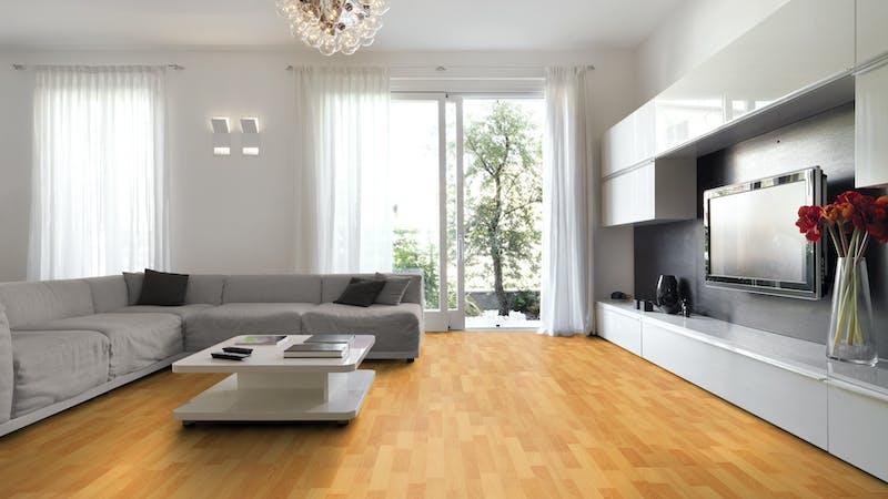 Laminat BoDomo Klassik Buche Produktbild Wohnzimmer - Urban mit Wohnwand zoom