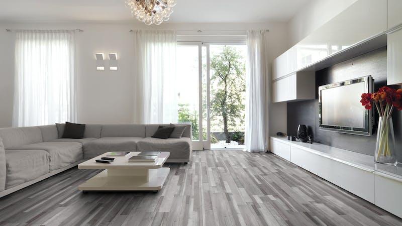 Laminat BoDomo Klassik Patchwork Produktbild Wohnzimmer - Urban mit Wohnwand zoom