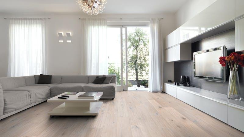 Parkett BoDomo Premium Roma Produktbild Wohnzimmer - Urban mit Wohnwand zoom