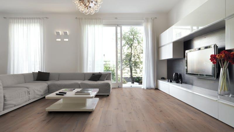 Parkett BoDomo Premium Veneto Produktbild Wohnzimmer - Urban mit Wohnwand zoom