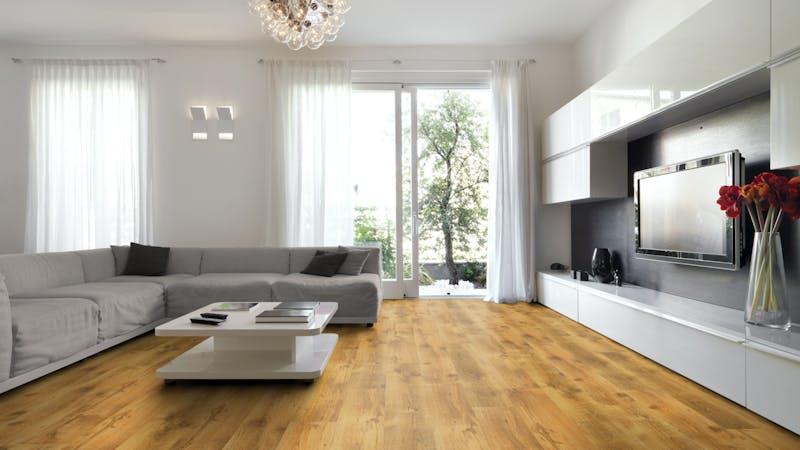 Laminat BoDomo Klassik Eiche LHD Produktbild Wohnzimmer - Urban mit Wohnwand zoom