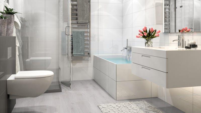 Laminat BoDomo Klassik Trend Eiche Weiß Produktbild Badezimmer - Klassisch zoom