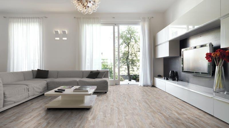 Laminat BoDomo Exquisit Eiche Maryland Produktbild Wohnzimmer - Urban mit Wohnwand zoom
