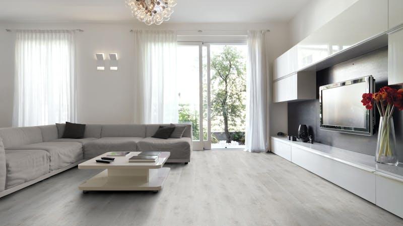 Laminat BoDomo Klassik Steineiche Produktbild Wohnzimmer - Urban mit Wohnwand zoom