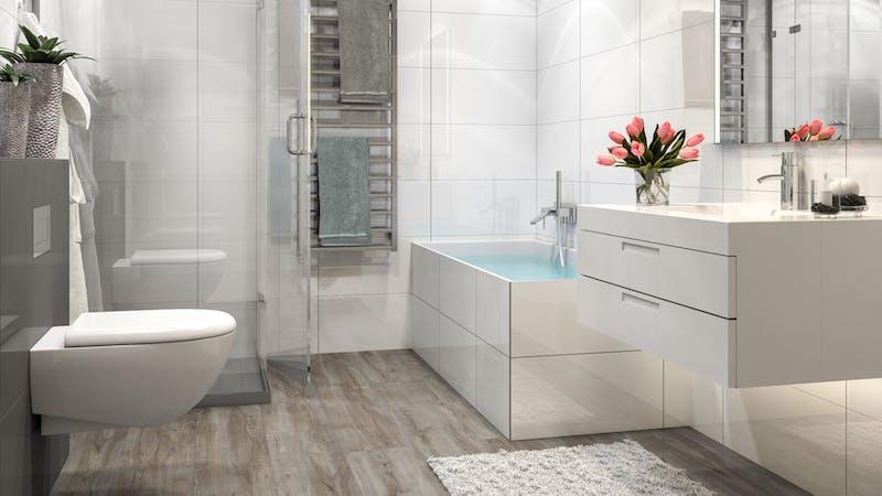 Laminat Kronotex Exquisit Plus Montmelo Eiche Silber Produktbild Badezimmer - Klassisch zoom