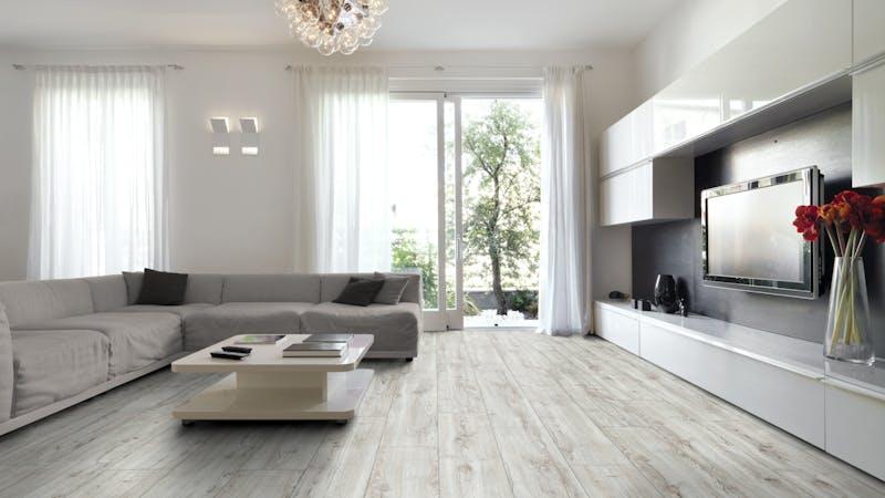 Laminat Kronotex Exquisit Plus Montmelo Eiche Creme Produktbild Wohnzimmer - Urban mit Wohnwand zoom