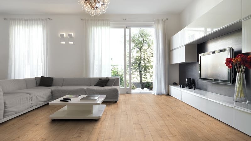 Laminat BoDomo Exquisit Eiche New England Produktbild Wohnzimmer - Urban mit Wohnwand zoom