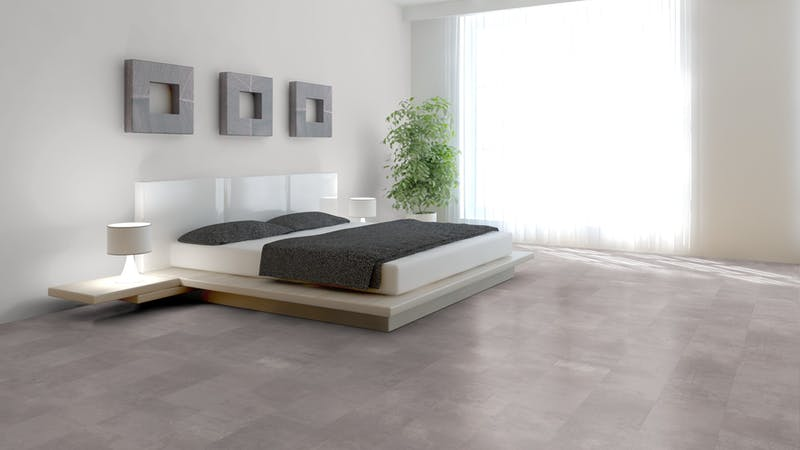 Laminat BoDomo Premium Beton Perlgrau Produktbild Schlafzimmer - Urban zoom