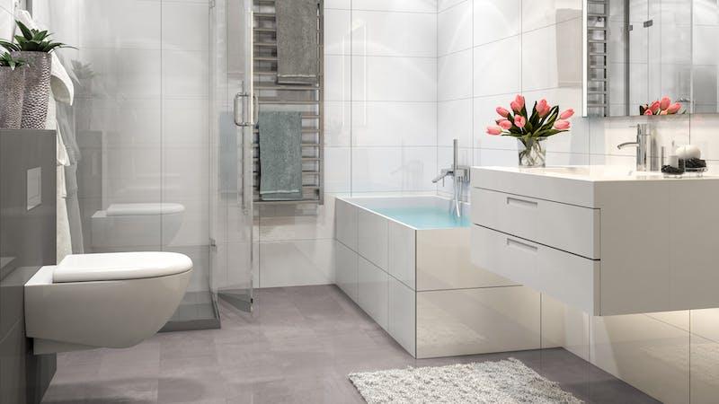Laminat BoDomo Premium Beton Perlgrau Produktbild Badezimmer - Klassisch zoom