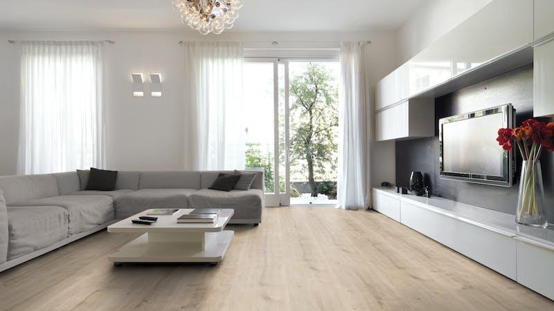 Laminat BoDomo Premium Schlossdiele Creme Produktbild Wohnzimmer - Urban mit Wohnwand zoom