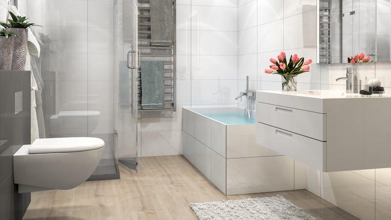 Laminat BoDomo Premium Schlossdiele Creme Produktbild Badezimmer - Klassisch zoom