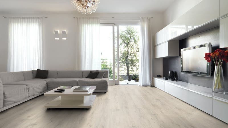 Laminat BoDomo Klassik Kreideeiche Produktbild Wohnzimmer - Urban mit Wohnwand zoom