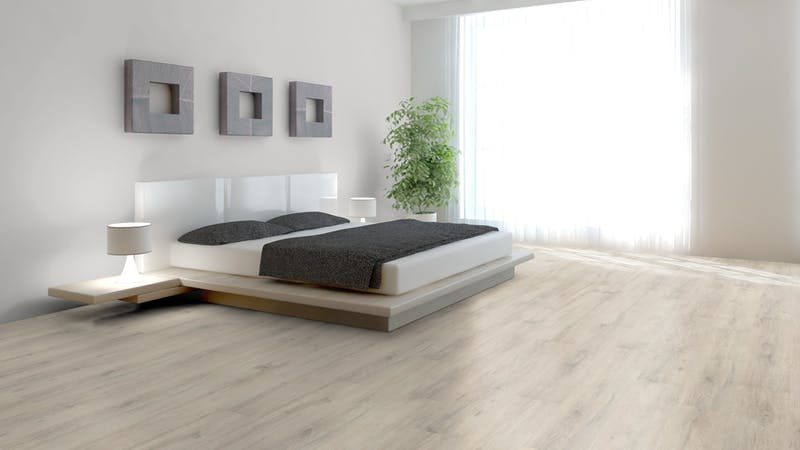 Laminat BoDomo Klassik Kreideeiche Produktbild Schlafzimmer - Urban zoom