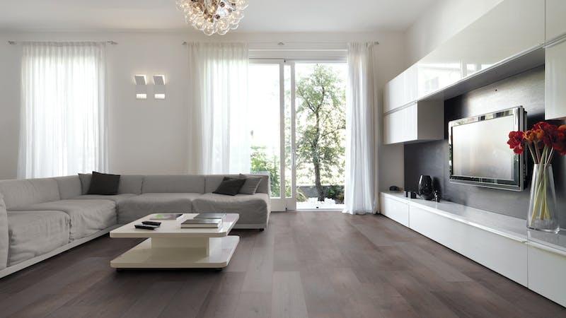 Laminat Kronoflooring MyArt Anvil Oak Produktbild Wohnzimmer - Urban mit Wohnwand zoom