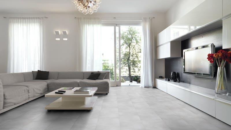 Klick-Vinyl BoDomo Exquisit Puro White Produktbild Wohnzimmer - Urban mit Wohnwand zoom