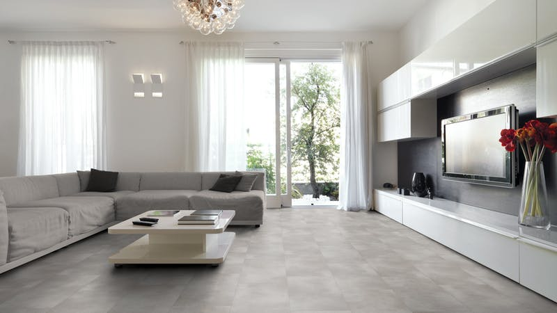 Klick-Vinyl BoDomo Exquisit Puro Silver Produktbild Wohnzimmer - Urban mit Wohnwand zoom