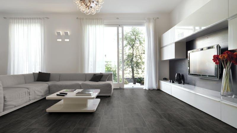 Laminat BoDomo Exquisit Virginia Black Produktbild Wohnzimmer - Urban mit Wohnwand zoom