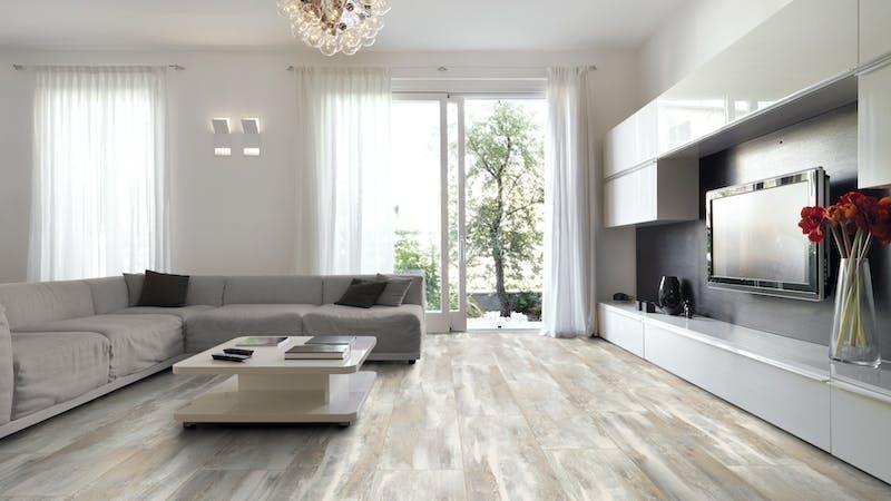 Laminat BoDomo Premium Iceland Oak Produktbild Wohnzimmer - Urban mit Wohnwand zoom
