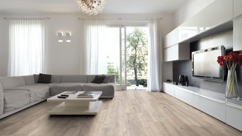 Laminat BoDomo Premium Nordic Oak Produktbild Wohnzimmer - Urban mit Wohnwand zoom