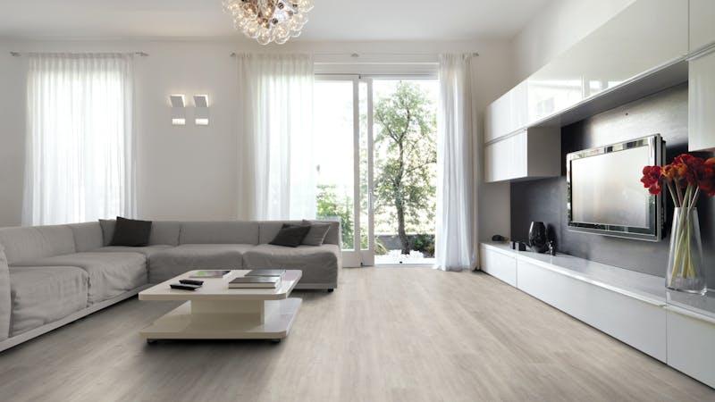 Rigid-Vinyl mit integrierter Dämmung BoDomo Klassik Eiche Sevilla Produktbild Wohnzimmer - Urban mit Wohnwand zoom