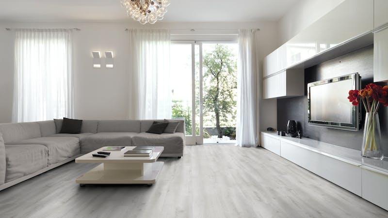 Laminat BoDomo Premium Castle Oak White Produktbild Wohnzimmer - Urban mit Wohnwand zoom