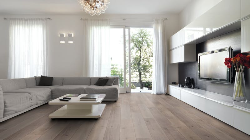 Laminat BoDomo Exquisit Special Oak Produktbild Wohnzimmer - Urban mit Wohnwand zoom