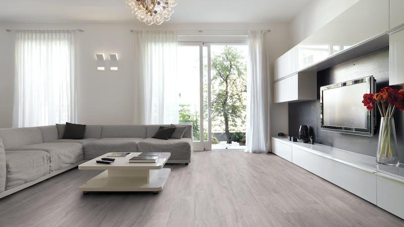 Laminat BoDomo Exquisit Eiche Klassik Grau Produktbild Wohnzimmer - Urban mit Wohnwand zoom