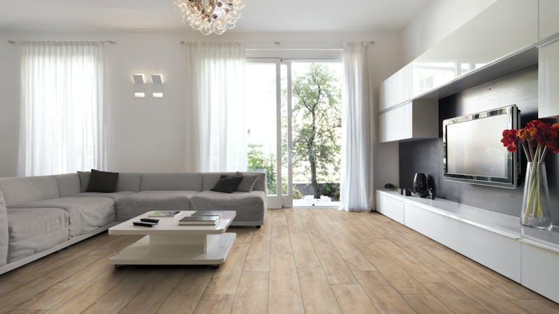 Laminat BoDomo Exquisit Eiche Orient Beige Produktbild Wohnzimmer - Urban mit Wohnwand zoom