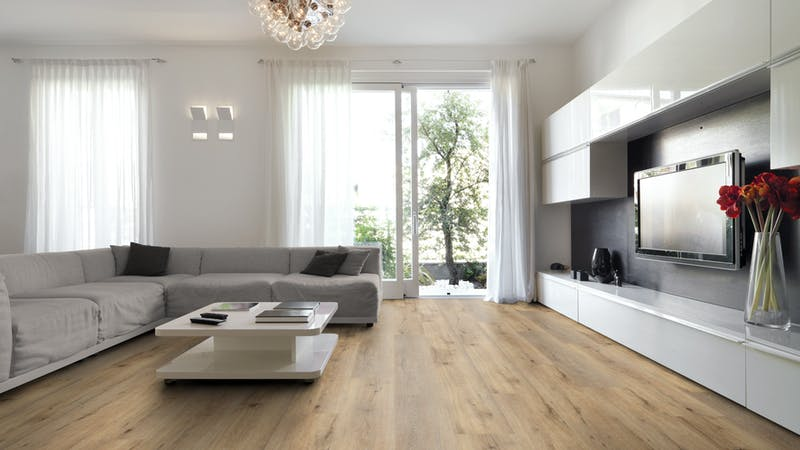 Rigid-Vinyl ohne integrierte Dämmung Windmöller wineo 600 #LisbonLoft Produktbild Wohnzimmer - Urban mit Wohnwand zoom