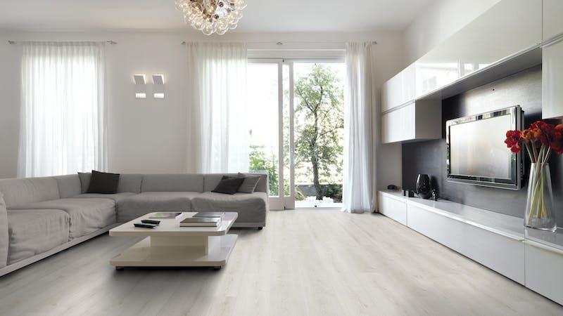 Laminat BoDomo Exquisit Roble Crema Produktbild Wohnzimmer - Urban mit Wohnwand zoom