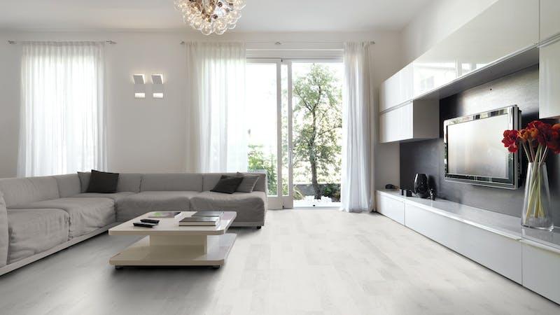 Laminat BoDomo Klassik Ash White Produktbild Wohnzimmer - Urban mit Wohnwand zoom