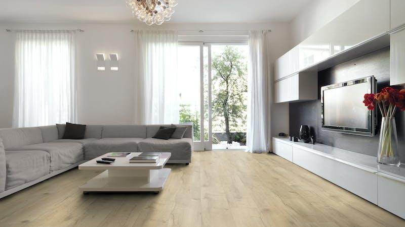 Laminat BoDomo Premium Basket Oak Nature Produktbild Wohnzimmer - Urban mit Wohnwand zoom