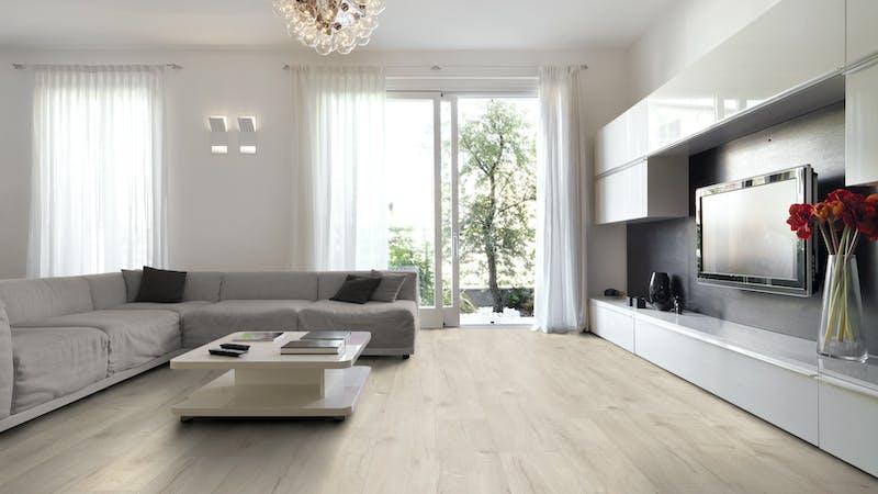 Laminat BoDomo Premium Basket Oak Light Produktbild Wohnzimmer - Urban mit Wohnwand zoom