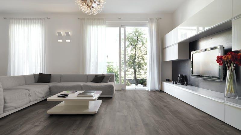 Laminat BoDomo Exquisit Scarlet Oak Grey Produktbild Wohnzimmer - Urban mit Wohnwand zoom