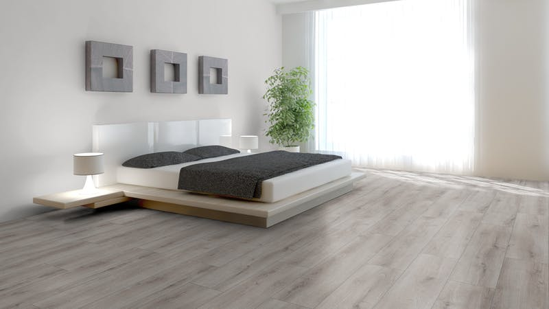 Laminat BoDomo Exquisit Roble Verano Gris Produktbild Schlafzimmer - Urban zoom