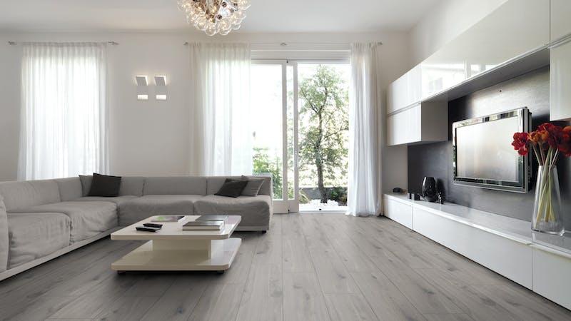 Laminat BoDomo Premium Moskau Oak Produktbild Wohnzimmer - Urban mit Wohnwand zoom