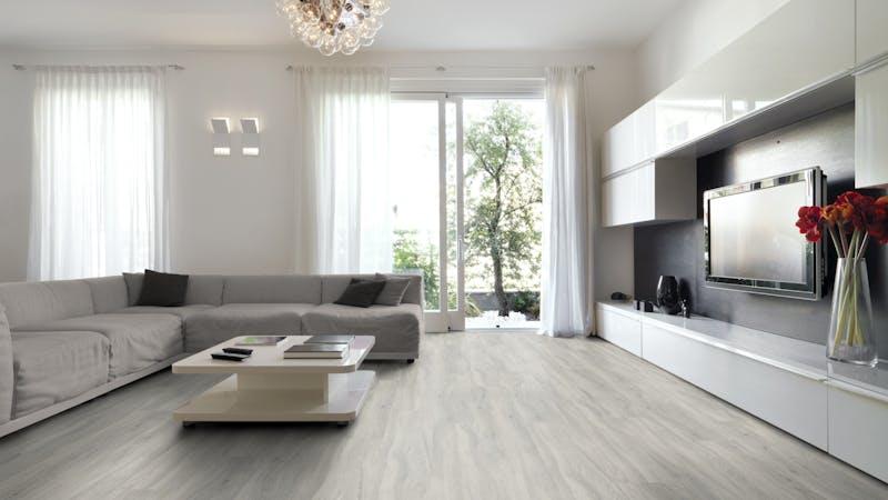 Klick-Vinyl BoDomo Exquisit New Cimba Oak Light Grey Produktbild Wohnzimmer - Urban mit Wohnwand zoom
