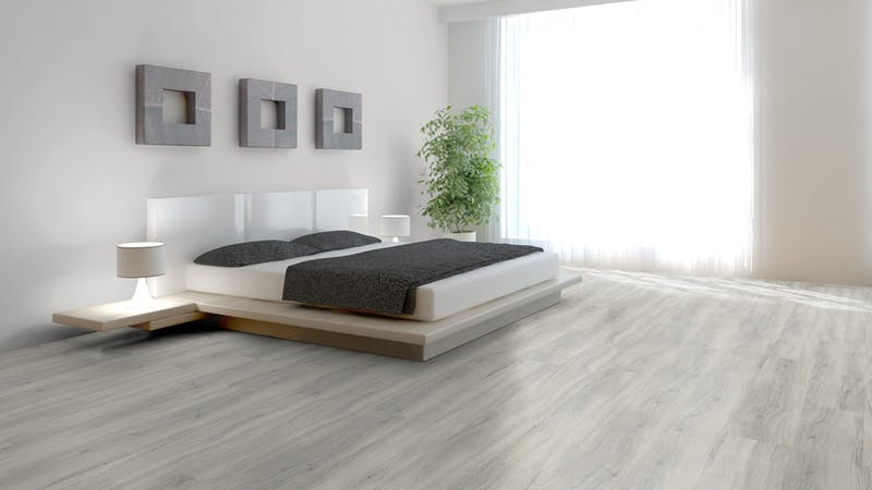 Klick-Vinyl BoDomo Exquisit New Cimba Oak Light Grey Produktbild Schlafzimmer - Urban zoom