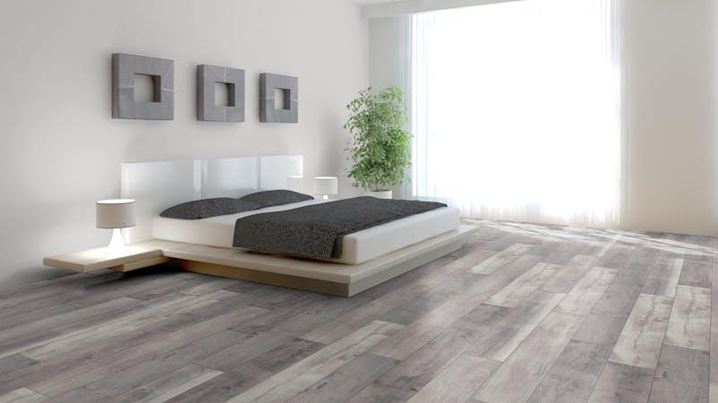 Laminat BoDomo Premium Fera Oak Grey Produktbild Schlafzimmer - Urban zoom
