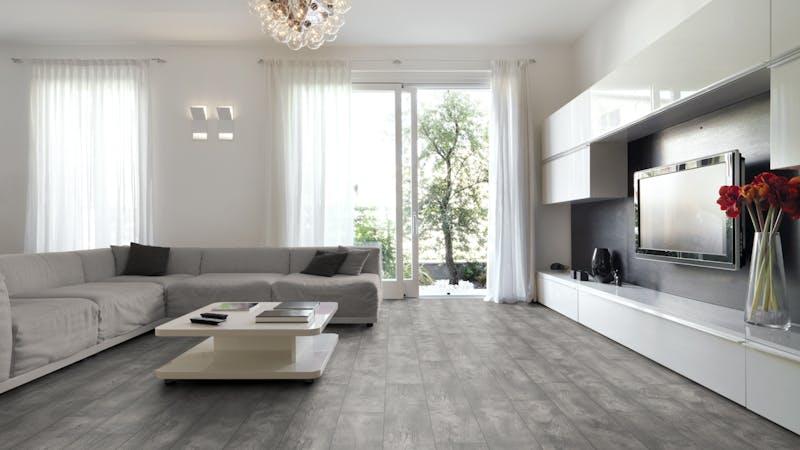 Laminat BoDomo Exquisit Barnim Oak Produktbild Wohnzimmer - Urban mit Wohnwand zoom