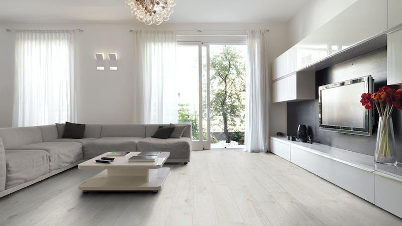 Laminat BoDomo Exquisit Darßwald Oak Produktbild Wohnzimmer - Urban mit Wohnwand zoom