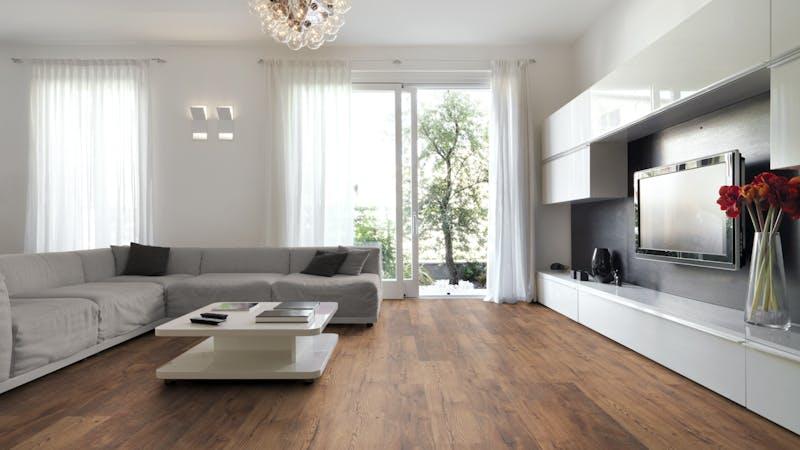 Laminat BoDomo Klassik Rhön Oak Produktbild Wohnzimmer - Urban mit Wohnwand zoom