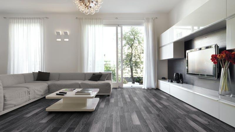 Laminat BoDomo Exquisit Schwarzweiß Produktbild Wohnzimmer - Urban mit Wohnwand zoom